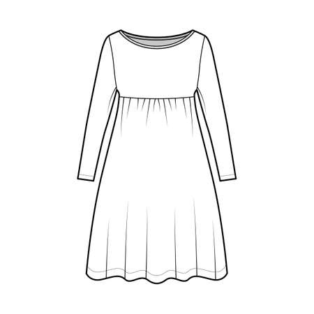Dress babydoll technical fashion illustration with long sleeves, oversized body, knee length A-line skirt, boat neck. Flat apparel front, white color style. Women, men unisex CAD mockup
