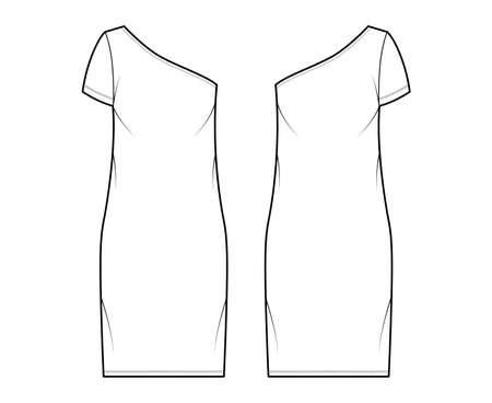 Dress one shoulder technical fashion illustration with short sleeve, oversized body, knee length pencil skirt. Flat apparel front, back, white, color style. Women, men unisex CAD mockup