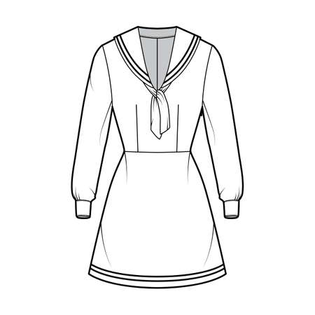 Dress sailor technical fashion illustration with long sleeve with cuff, fitted body, middy collar, stripes, mini length. Flat apparel front, white color style. Women, men unisex CAD mockup