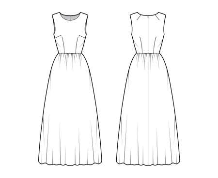 Dress long technical fashion illustration with sleeveless, fitted body, floor length full skirt. Flat apparel front, back, white color style. Women, men unisex CAD mockup