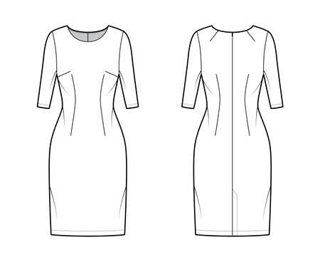 Dress sheath technical fashion illustration with elbow sleeves, fitted body, knee length pencil skirt. Flat apparel front, back, white color style. Women, men unisex CAD mockup