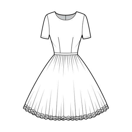 Dress tutu technical fashion illustration with short sleeves, fitted body, knee length circular skirt. Flat ballet apparel front, white color style. Women, men unisex CAD mockup