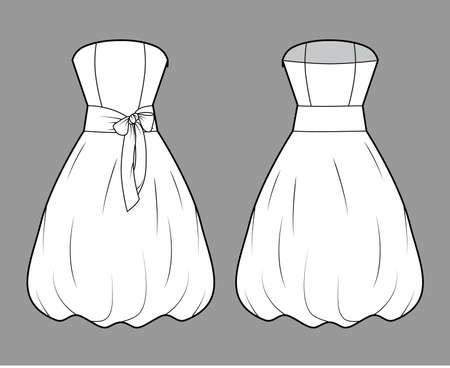 Dress bubble technical fashion illustration with strapless, bow, sleeveless, fitted body, knee length skirt. Flat apparel front, back, white, grey color style. Women, men unisex CAD mockup