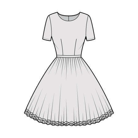 Dress tutu technical fashion illustration with short sleeves, fitted body, knee length circular skirt. Flat ballet apparel front, grey color style. Women, men unisex CAD mockup