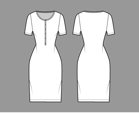 Dress henley collar technical fashion illustration with short sleeves, fitted body, knee length pencil skirt. Flat apparel front, back, white color style. Women, men unisex CAD mockup
