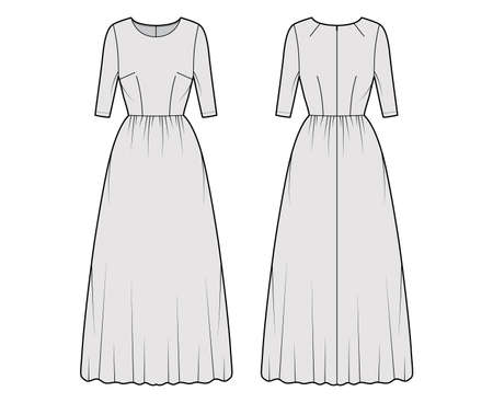 Dress long technical fashion illustration with elbow sleeve, fitted body, floor length full skirt. Flat apparel front, back, grey color style. Women, men unisex CAD mockup