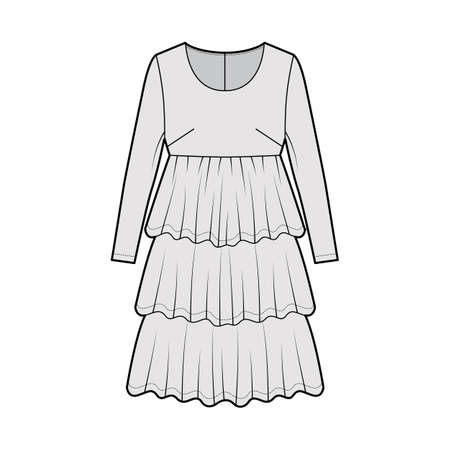 Dress babydoll technical fashion illustration with long sleeves, oversized body, knee length ruffle tiered skirt. Flat apparel front, grey color style. Women men unisex CAD mockup