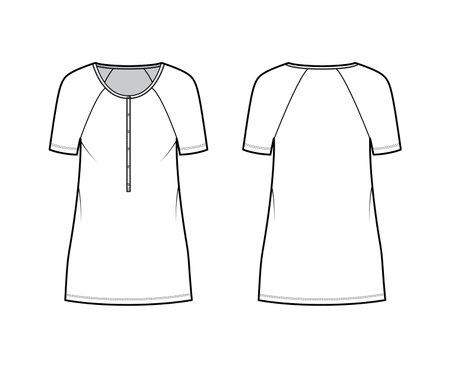 Dress henley collar technical fashion illustration with short raglan sleeves, oversized body, mini length pencil skirt. Flat apparel front, back, white color style. Women, men unisex CAD mockup