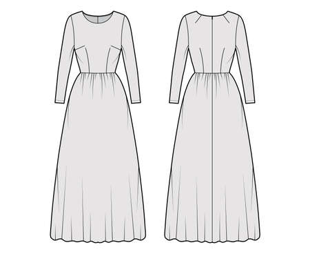 Dress long technical fashion illustration with long sleeve, fitted body, floor length full skirt. Flat apparel front, back, grey color style. Women, men unisex CAD mockup