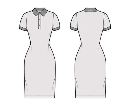 Dress polo fashion illustration with short sleeves, fitted body, knee length pencil skirt, henley neckline. Flat apparel front, back, grey color style. Women, men unisex CAD mockup