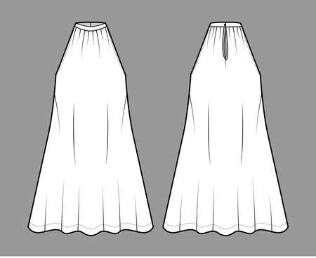 Dress trapeze tent technical fashion illustration with sleeveless, oversized body, knee length, banded high neck halter. Flat apparel front, back, white color style. Women, men unisex CAD mockup