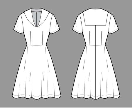 Dress sailor technical fashion illustration with middy collar, short sleeve, fitted body, knee length circular skirt. Flat apparel front, back, white color style. Women, men unisex CAD mockup