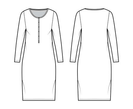 Dress henley collar technical fashion illustration with long sleeves, oversized body, knee length pencil skirt. Flat apparel front, back, white color style. Women, men unisex CAD mockup
