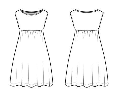 Dress babydoll technical fashion illustration with sleeveless, oversized body, knee length A-line skirt, boat neck. Flat apparel front, back, white color style. Women, men unisex CAD mockup Vector Illustration
