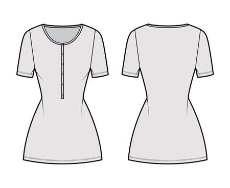 Dress henley collar technical fashion illustration with short sleeves, fitted body, mini length pencil skirt. Flat apparel front, back, grey color style. Women, men unisex CAD mockup