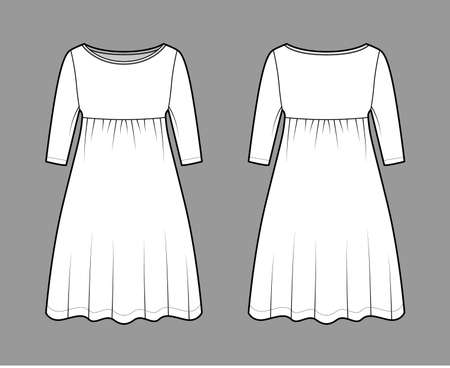 Dress babydoll technical fashion illustration with elbow sleeves, oversized body, knee length A-line skirt, boat neck. Flat apparel front, back, white color style. Women, men unisex CAD mockup