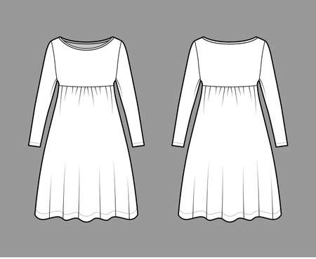 Dress babydoll technical fashion illustration with long sleeves, oversized body, knee length A-line skirt, boat neck. Flat apparel front, back, white color style. Women, men unisex CAD mockup