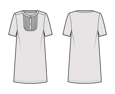 Dress bib pintucked technical fashion illustration with henley neckline, short sleeve, oversized body, knee length pencil skirt. Flat apparel front, back, grey color style. Women men unisex CAD mockup