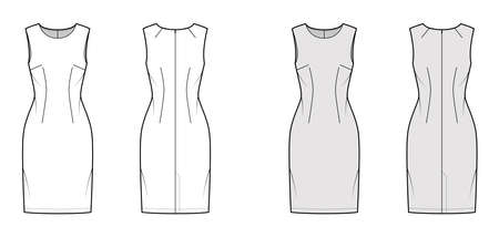 Dress sheath technical fashion illustration with sleeveless, fitted body, knee length pencil skirt. Flat apparel front, back, white, grey color style. Women, men unisex CAD mockup