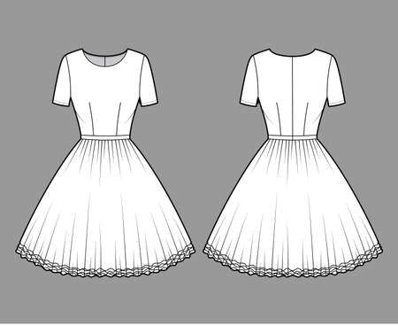 Dress tutu technical fashion illustration with short sleeves, fitted body, knee length circular skirt. Flat ballet apparel front, back, white color style. Women, men unisex CAD mockup