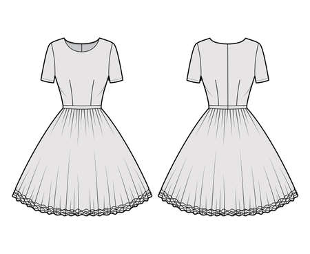Dress tutu technical fashion illustration with short sleeves, fitted body, knee length circular skirt. Flat ballet apparel front, back, grey color style. Women, men unisex CAD mockup