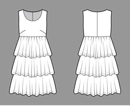 Dress babydoll technical fashion illustration with sleeveless, oversized body, knee length ruffle tiered skirt. Flat apparel front, back, white color style. Women men unisex CAD mockup