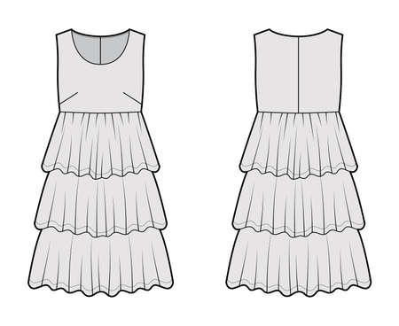 Dress babydoll technical fashion illustration with sleeveless, oversized body, knee length ruffle tiered skirt. Flat apparel front, back, grey color style. Women men unisex CAD mockup Vector Illustration