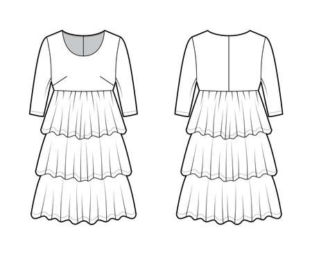 Dress babydoll technical fashion illustration with elbow sleeves, oversized body, knee length ruffle tiered skirt. Flat apparel front, back, white color style. Women men unisex CAD mockup