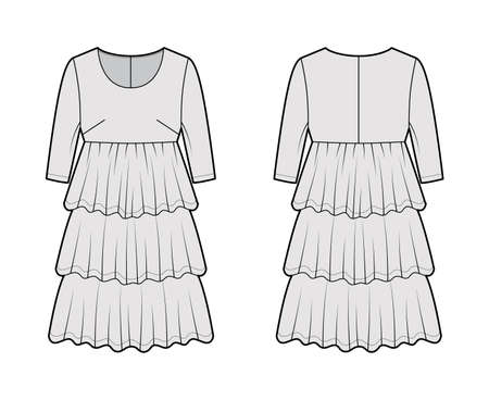 Dress babydoll technical fashion illustration with elbow sleeves, oversized body, knee length ruffle tiered skirt. Flat apparel front, back, white, grey color style. Women men unisex CAD mockup