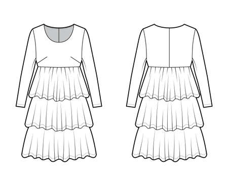 Dress babydoll technical fashion illustration with long sleeves, oversized body, knee length ruffle tiered skirt. Flat apparel front, back, white color style. Women men unisex CAD mockup