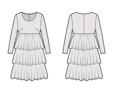 Dress babydoll technical fashion illustration with long sleeves, oversized body, knee length ruffle tiered skirt. Flat apparel front, back, grey color style. Women men unisex CAD mockup