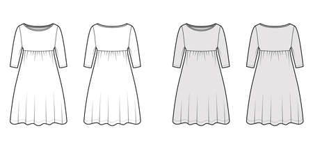 Dress babydoll technical fashion illustration with elbow sleeves, oversized body, knee length A-line skirt, boat neck. Flat apparel front, back, white, grey color style. Women, men unisex CAD mockup Vector Illustration