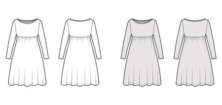Dress babydoll technical fashion illustration with long sleeves, oversized body, knee length A-line skirt, boat neck. Flat apparel front, back, white, grey color style. Women, men unisex CAD mockup Vector Illustration