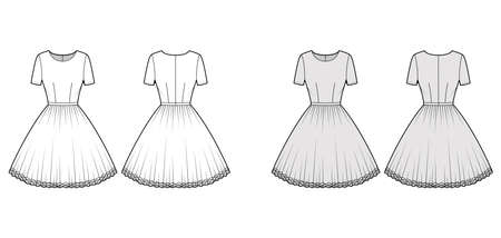 Dress tutu technical fashion illustration with short sleeves, fitted body, knee length circular skirt. Flat ballet apparel front, back, white, grey color style. Women, men unisex CAD mockup