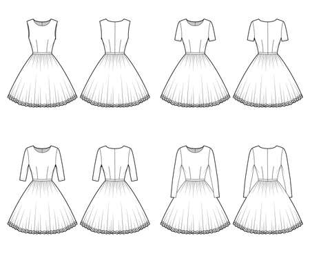 Set of Dresses tutu technical fashion illustration with long short sleeves, fitted body, knee length circular skirt. Flat ballet apparel front, back, white color style. Women, men unisex CAD mockup