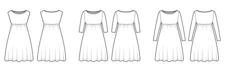 Set of dresses babydoll technical fashion illustration with long elbow sleeves, oversized body, knee length A-line skirt, boat neck. Flat apparel front, back white color style. Women, men unisex CAD Vector Illustration