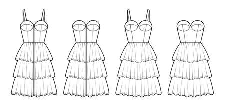 Set of dresses Zip-up bustier technical fashion illustration with sleeveless, strapless, fitted body, knee length ruffle tiered skirt. Flat apparel front, white color style. Women, men unisex mockup Vector Illustration