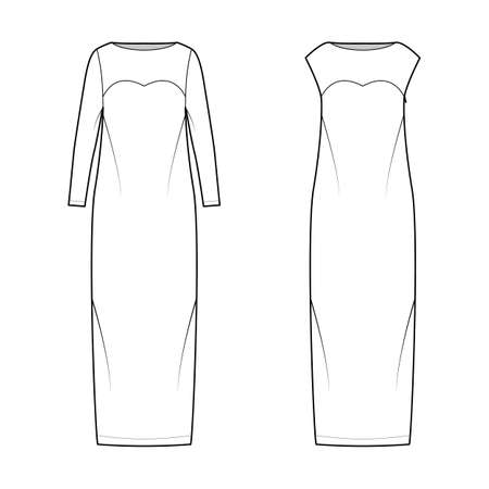 Set of Dresses column technical fashion illustration with long sleeves, sleeveless, fitted body, floor maxi length pencil skirt. Flat evening apparel front, white color style. Women, unisex CAD mockup