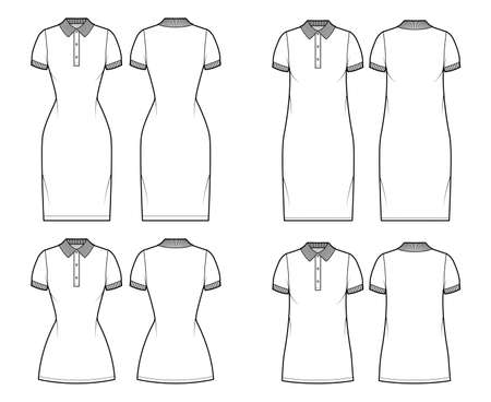 Set of Dresses polo fashion illustration with short sleeves, oversized fitted body, knee mini length pencil skirt, henley neckline. Flat apparel front, back, white color. Women, men unisex CAD mockup