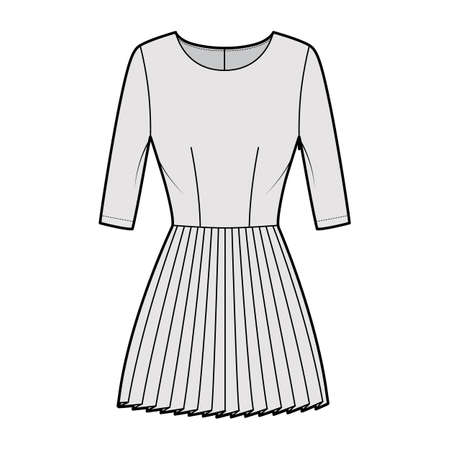 Dress pleated technical fashion illustration with elbow sleeves, fitted body, mini length skirt. Flat apparel front, grey color style. Women, men unisex CAD mockup Ilustración de vector