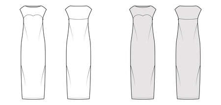 Dress column technical fashion illustration with long sleeves, fitted body, floor maxi length pencil skirt. Flat evening apparel front, back, white, grey color style. Women, men unisex CAD mockup