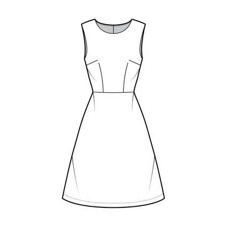 Dress A-line technical fashion illustration with sleeveless, fitted body, natural waistline, knee length skirt. Flat apparel front, white color style. Women, men unisex CAD mockup