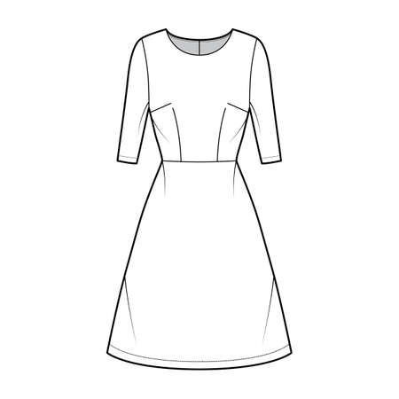 Dress A-line technical fashion illustration with elbow sleeves, fitted body, natural waistline, knee length skirt. Flat apparel front, white color style. Women, men unisex CAD mockup Vettoriali