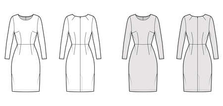 Dress sheath technical fashion illustration with long sleeves, natural waistline, fitted body, knee length pencil skirt. Flat apparel front, back, white, grey color style. Women, men unisex CAD mockup