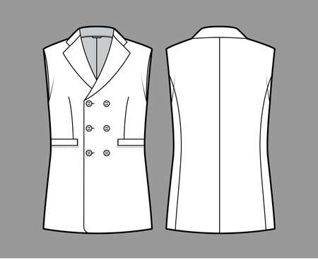 Sleeveless jacket lapelled vest waistcoat technical fashion illustration with double breasted, button-up closure, pockets. Flat template front, back, white color style. Women men unisex top CAD mockup