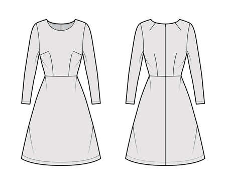 Dress A-line technical fashion illustration with long sleeves, fitted body, natural waistline, knee length skirt. Flat apparel front, back, grey color style. Women, men unisex CAD mockup Vettoriali