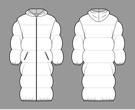 Down puffer coat jacket technical fashion illustration with long sleeves, hoody collar, zip-up closure, knee length, wide quilting. Flat template front, back, white color style. Women, men, CAD mockup