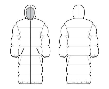 Down puffer coat jacket technical fashion illustration with long sleeves, hoody collar, zip-up closure, oversized, knee length. Flat template front, back, white color style. Women, men, unisex top CAD