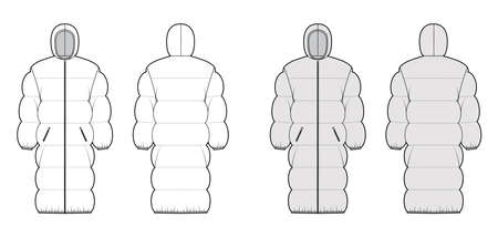 Down puffer coat jacket technical fashion illustration with hoody collar, zip-up closure, oversized, wide quilting. Flat template front, back, white, grey color style. Women, men unisex top CAD mockup
