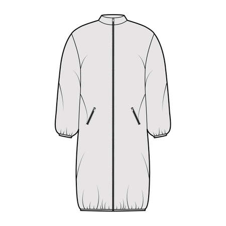 Hooded jacket puffer coat technical fashion illustration with long sleeves, stand collar, zip-up closure, pockets, knee length. Flat template front, grey color style. Women, men, unisex top CAD mockup